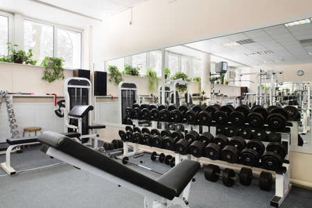 without people: little bit used european sport gym without people