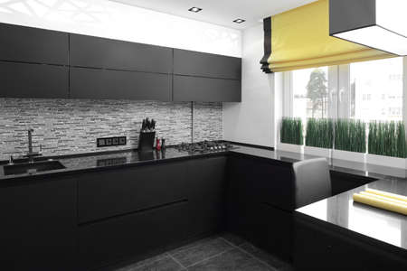 beautiful and model interior of bright kitchen photo