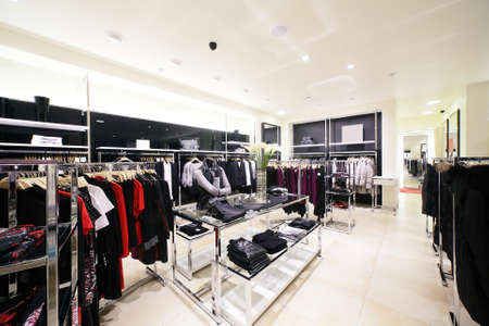 decore: luxury and fashionable brend new interior of cloth store
