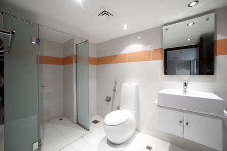 beautiful interior of modern toilet in bright colours photo
