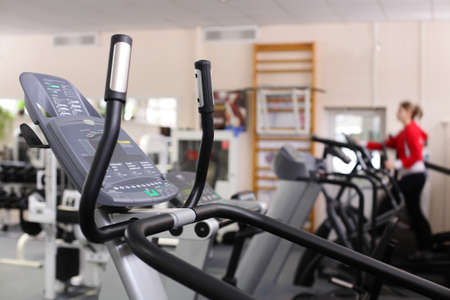 industrie: little bit used european sport gym without people