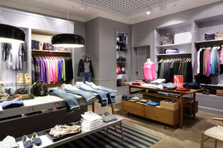 luxury and fashionable brend new interior of cloth store