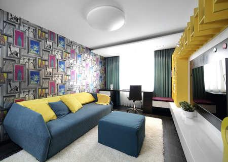 bright and beautiful interior of children room photo