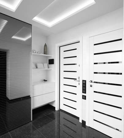 modern and simple interior of hallway at house photo