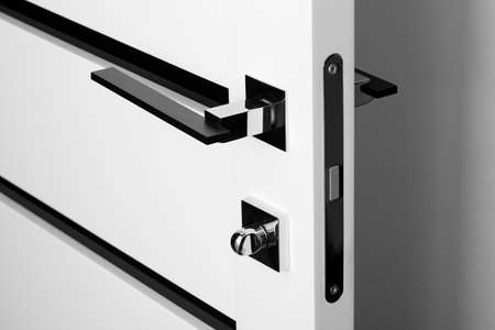 modern and stylish black with white door lock photo