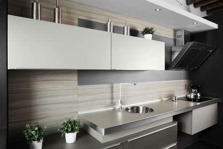 interior of brand new modern and stylish kitchen photo