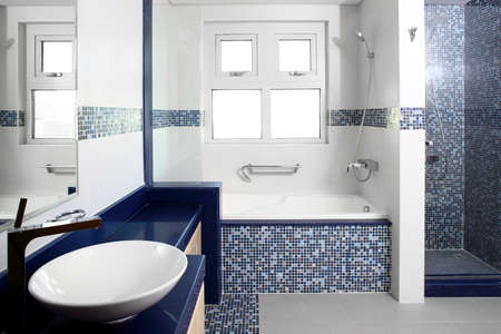 beautiful interior of modern toilet in bright colors photo