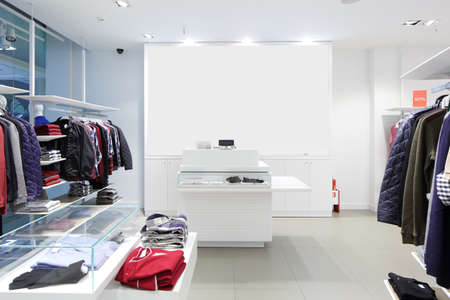 高級と布のファッショナブルなブランドの新しいインテリア ストアします。 写真素材