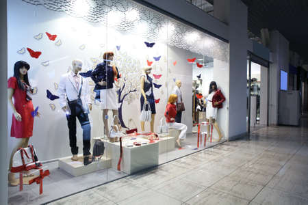 bright and fashionable window of modern european store