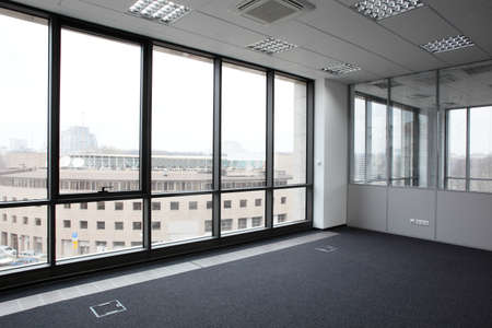 new office space: brand new interior of office with white walls
