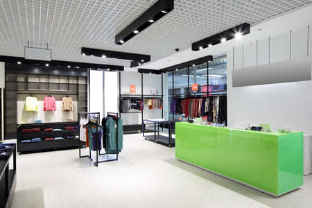 clothing store: luxury and fashionable brand new interior of cloth store