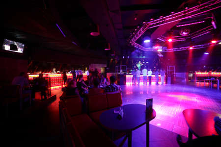 colorful interior of bright and beautiful night club photo