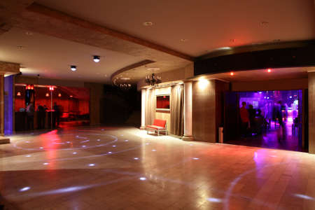 clean room: colorful interior of bright and beautiful night club