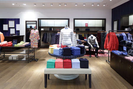 store display: luxury and fashionable brand new interior of cloth store