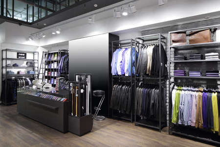 traditional clothing: luxury and fashionable brand new interior of cloth store