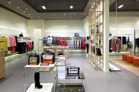 light display: luxury and fashionable brand new interior of cloth store