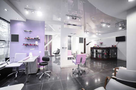 salon background: brand new interior of european beauty salon