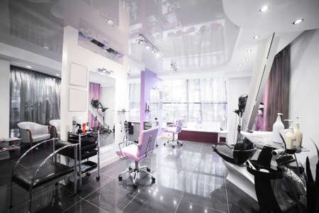 shop interior: brand new interior of european beauty salon