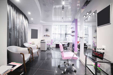 brand new interior of european beauty salon photo