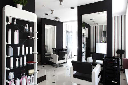 black hair: brand new interior of european beauty salon