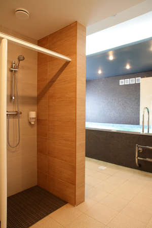 interior of bright and colorful european shower photo