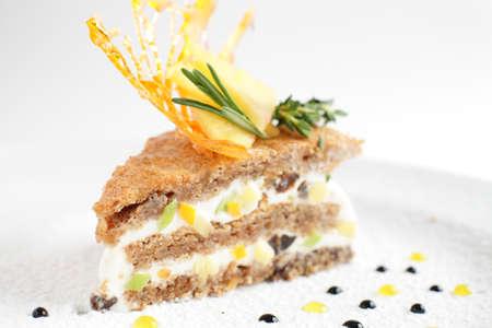 fresh and tasty peace of cake on white background photo