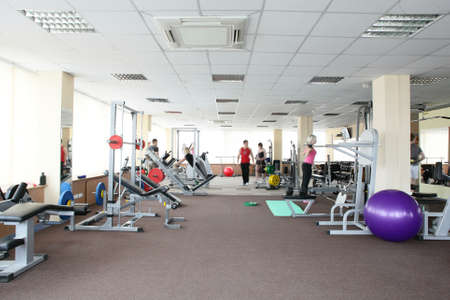 gym room: little bit used european sport gym without people