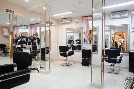 interior lighting: brand new interior of european beauty salon