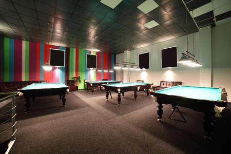 brand new and modern billiard interior in night time photo