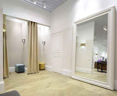 beautiful and clean interior of dressing room at the store