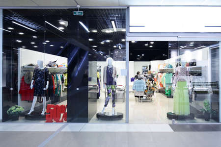 retailer: bright and fashionable window of modern european store