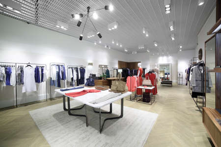 store interior: luxury and fashionable brand new interior of cloth store