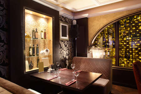 luxury hotel: beautiful brand new european restaurant in downtown Stock Photo