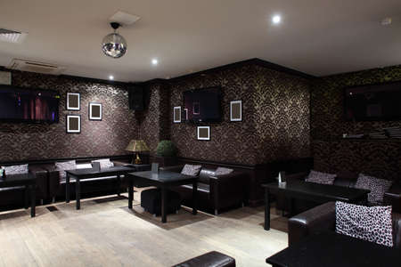 restaurant interior: beautiful brand new european restaurant in downtown Stock Photo