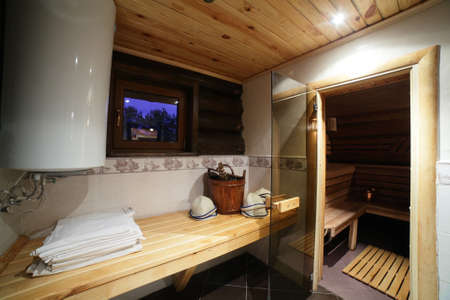 sauna: bright and hot interior of modern russian sauna
