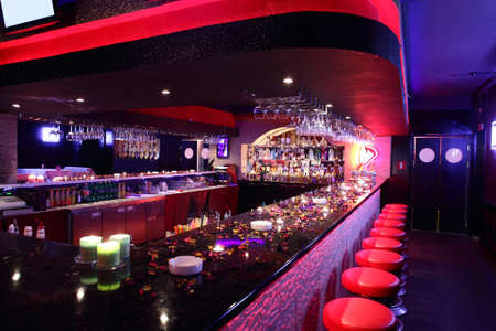 dance bar: colorful interior of bright and beautiful night club