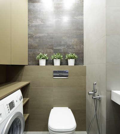 bathroom design: beautiful interior of modern toilet in bright colors