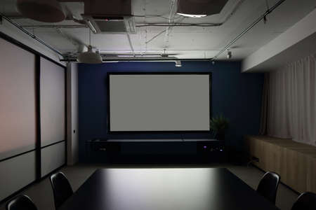 meeting room with projector in modern office photo
