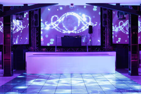 dark interior: colorful interior of bright and beautiful night club