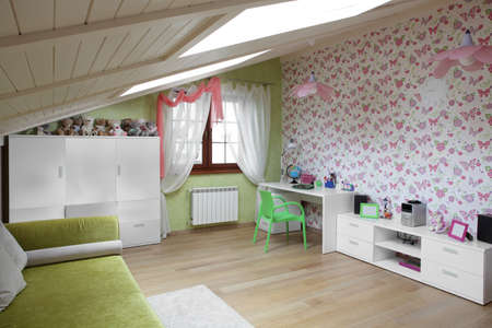 bright and beautiful interior of children room photo