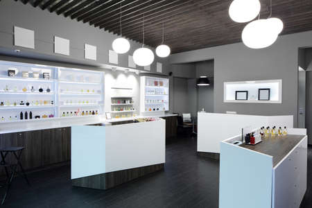 perfumery: light and stylish luxury perfume store with famous fragance