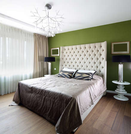 bright and brand new interior of european bedroom photo