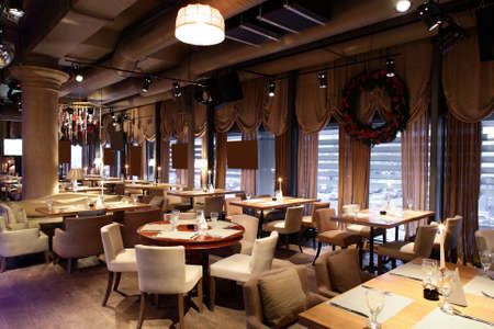 beautiful brand new european restaurant in downtown Stock Photo
