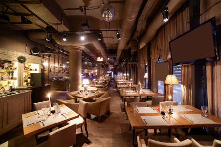 beautiful brand new european restaurant in downtown Фото со стока