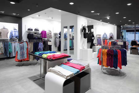 brand new: luxury and fashionable brand new interior of cloth store
