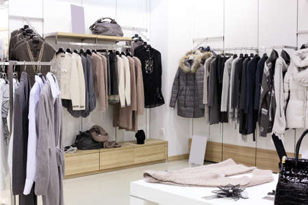 traditional clothes: luxury and fashionable brand new interior of cloth store