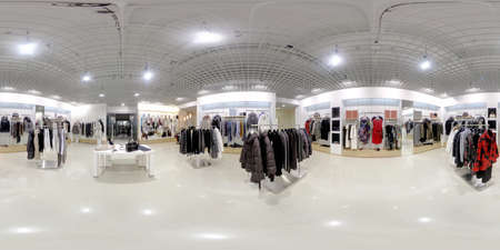 panoramic business: luxury and fashionable brand new interior of cloth store