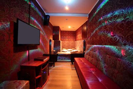 karaoke bar: beautiful brand new european restaurant in downtown Stock Photo