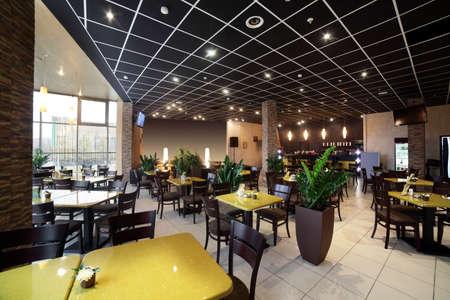 restaurant background: beautiful brand new european restaurant in downtown Stock Photo