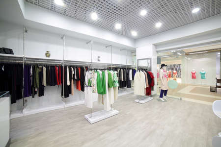 to light: luxury and fashionable brand new interior of cloth store